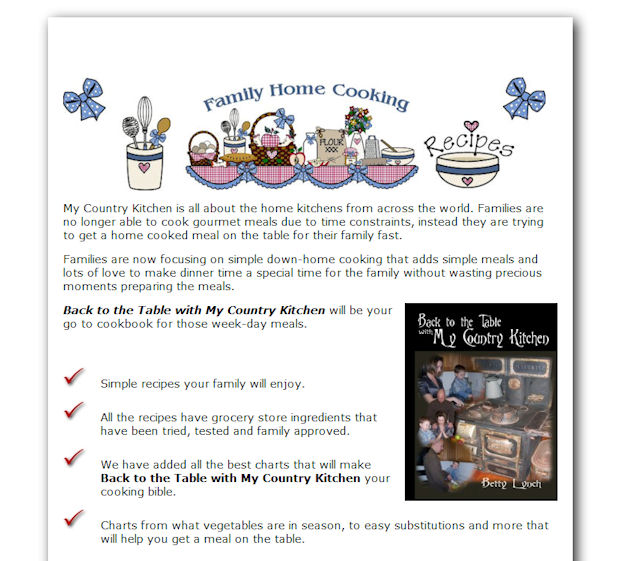 My Country Kitchen – Simple Sales Letter